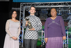 Ms Beverley Damonse, Executive Director of the SA Agency for Science and Technology Advancement (SAASTA), Robert Inglis and the Honourable Mrs Naledi Pandor, Minister of Science and Technology